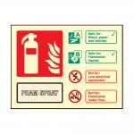 Landscape Photoluminescent AFFF Foam Fire Extinguisher Sign