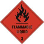 Self Adhesive Vinyl 200 x 200mm Flammable Liquid Sign (Pack of 5)