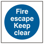 Fire Escape keep Clear Self Adhesive Safety Sign (Pack of 5)