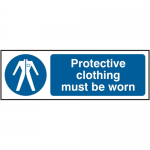 Protective Clothing Must Be Worn 300 x 100mm Safety Sign (Pack of 5)