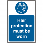 Hair Protection Must Be Worn 200 x 300mm Self Adhesive Safety Sign (Pack of 5)