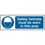 Safety Helmets Must Be Worn 300 x 100mm Safety Sign (Pack of 5)